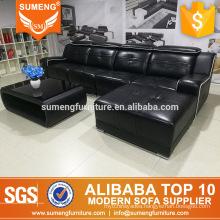 modern luxury design black comfortable leather sofa set furniture