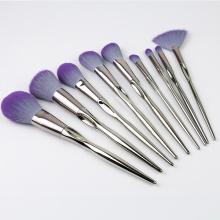 Set de pinceles de maquillaje de aluminio con 9 piezas