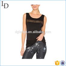 Черный сетки мода майка женщины тренажерный зал спорт полиэстер топы майка женщин