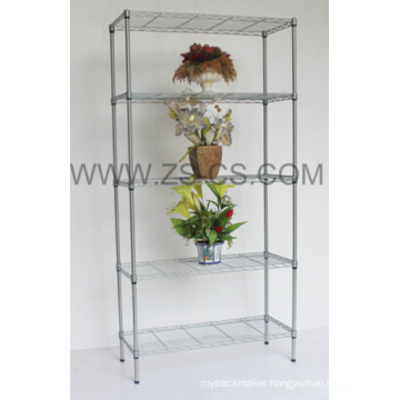Chrome Metal Outdoor Plant Shelves for Home and Garden