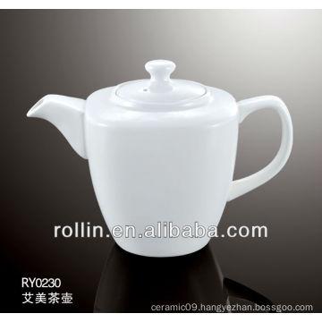 Guangzhou hotel and restaurant supplier white elegant square crockery tea pot, coffee pot