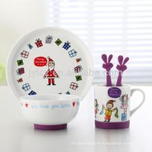 Juego de cena de porcelana para niños, 5 piezas, diseño navideño con base de silicona antideslizante