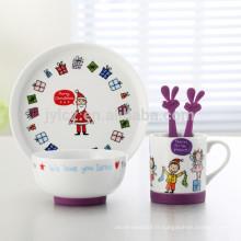 5 pcs noël conception enfants porcelaine dîner ensemble avec base en silicone anti-dérapant