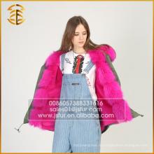 Европейский стиль Мода Женщины Зима Faux Леди Зима Мех Parka