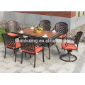 Patio outdoor furniture cast aluminum chairs and table 7pcs garden metal dining sets