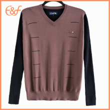 100% coton V Neck Mens Tricot Sweater