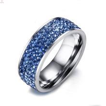 Argent faire des anneaux de bijoux pavés d'acier inoxydable avec la pierre