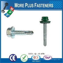 "Taiwan #12-14 x 1-1/4"" Hex Unslotted HWH Epoxy #3 410 Stainless Steel Bonded Sealing Washer Tek Self-Drilling Screw"
