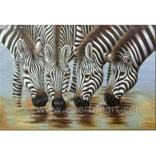 Hand Painted Animal Zebra Oil Painting