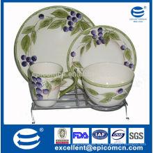 Vajilla de cerámica alta, juego de cena de cerámica, vajilla de cerámica