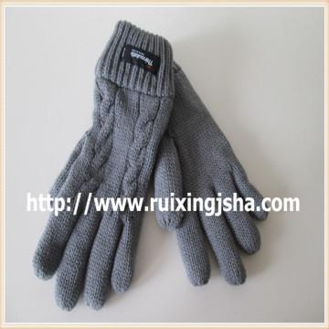 Black arcylic cinco dedos de luvas de malha