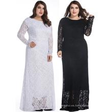 Las mujeres al por mayor más el vestido de encaje de manga larga vestido maxi grasa dama de sexo sin vestido