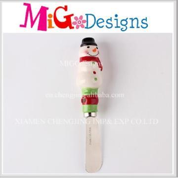 Fábrica de vendas diretas de cerâmica Snowman Design Manteiga Knife