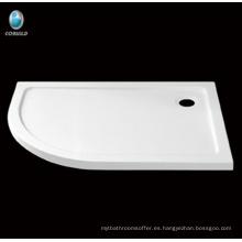 plato de ducha de diseño de baño, acrílico con base de ducha de fibra de vidrio