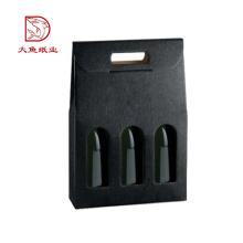 Logotipo personalizado preço barato caixa de presente de vinho preto ondulado 3 garrafas