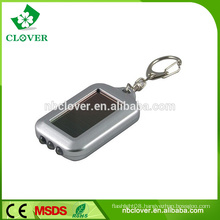 Silver painting 3 led mini solar power flashing lcd keychain