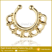 Gold Plated Brass Tribal Style Faux Septum Piercing Fake Septum Nose Ring