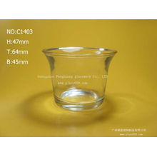 Clear White Glass Candle Cup ,  Mini