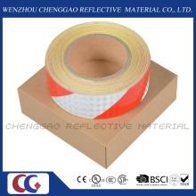 Banda de PVC rojo y blanco PRECAUCIÓN reflectante adhesiva (C3500-S)