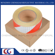 Bande de PVC rouge et blanc attention ruban adhésif réfléchissant (C3500-S)