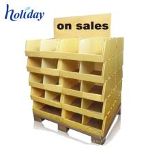 Новая акция дизайнерского картона дисплея Паллета,картонная коробка дисплея для супермаркета