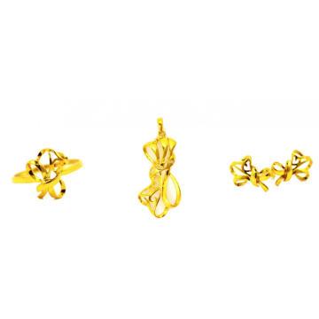 Ribbon Design K Gold Jewelry Set