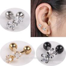 Cristal en acier inoxydable Tragus Helix Ear Stud Earring Ball Barbell Ear Piercing Black Silver Gold Barbell
