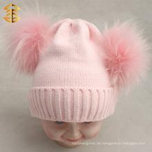 Großhandel niedlichen Baby Rosa gestrickt Kinder Wolle Hüte Double Pom Pom Hut