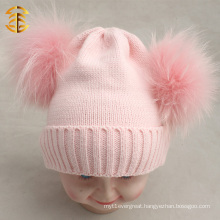 Wholesale Cute Baby Pink Knitted Kids Wool Hats Double Pom Pom Hat