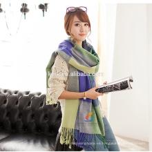 Manta de lana de la señora sobredimensionada tartán hijab bufanda tejiendo woool abrigo pashmina mantón