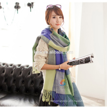 Manta de lã de senhora oversize tartan hijab lenço de tricô woool wrap pashmina xaile