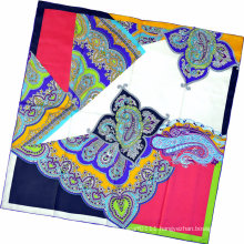 Lady Fashion Paisley Printed Square Silk Scarf (HC1315-1)