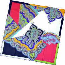 Lady Fashion Paisley Printed Square Silk Scarf (HC1315-1)