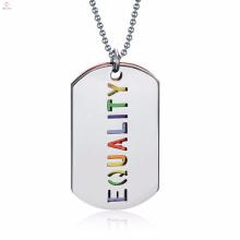 Personalizado mais recente modelo de moda colorido carta jóias colar de aço inoxidável