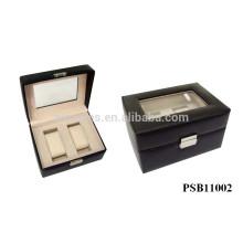 caixa de relógio de couro para 2 relógios atacado de alta qualidade