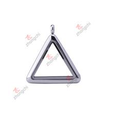 Moda aço inoxidável encantos pingente triângulo vidro lockets (CTL50925)