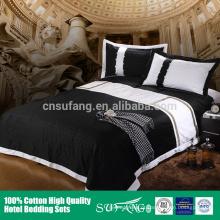 Roupa de cama 100% preto e branco da folha de cama T300 60s do hotel de luxo do algodão