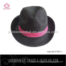 Black with red band fedora paper indiana jones hat