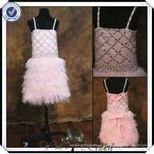 FF0008 penas de amostra real skrt rosa flor menina vestidos para 7 anos de idade