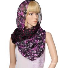 100% Polyester Voile gedruckt Sterne und Bäume Doppelschicht Schal Unendlichkeit Schal für Frauen