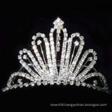fashion metal silver plated crystal tiara barrettes wholesale
