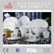 Estampado de hueso fino china cena conjunto hecho en china con la línea de oro cena de cristal