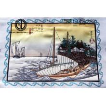 Emblema de bordado de veleiro de paisagem para boné, uniforme de vestuário