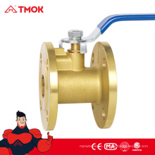 Válvula de bola del vástago del escape del reborde estático anti de alta calidad, válvula de bola del reborde de cobre amarillo