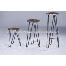 Industrial Vintage Distressed Wooden Top Set of 3 Bar Stools