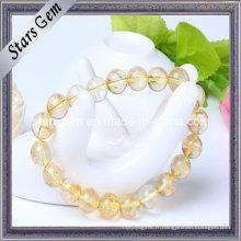 Perles de quartz jaune de bonne qualité avec bracelet de trou