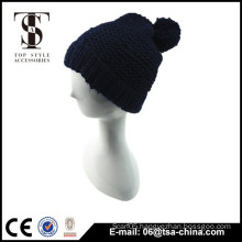 The dark blue color warm beanie hat pom pom beanie cap