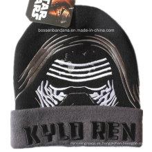 China Fábrica baratos invierno cálido acrílico Knit Beanie negro bordado Deportes Beanie Hat