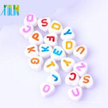 cuentas de silicona de calidad alimentaria de calidad superior cuentas de acrílico alfabeto redondo diseñado para bebés