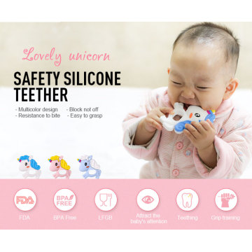 Teether in silicone per unicorno